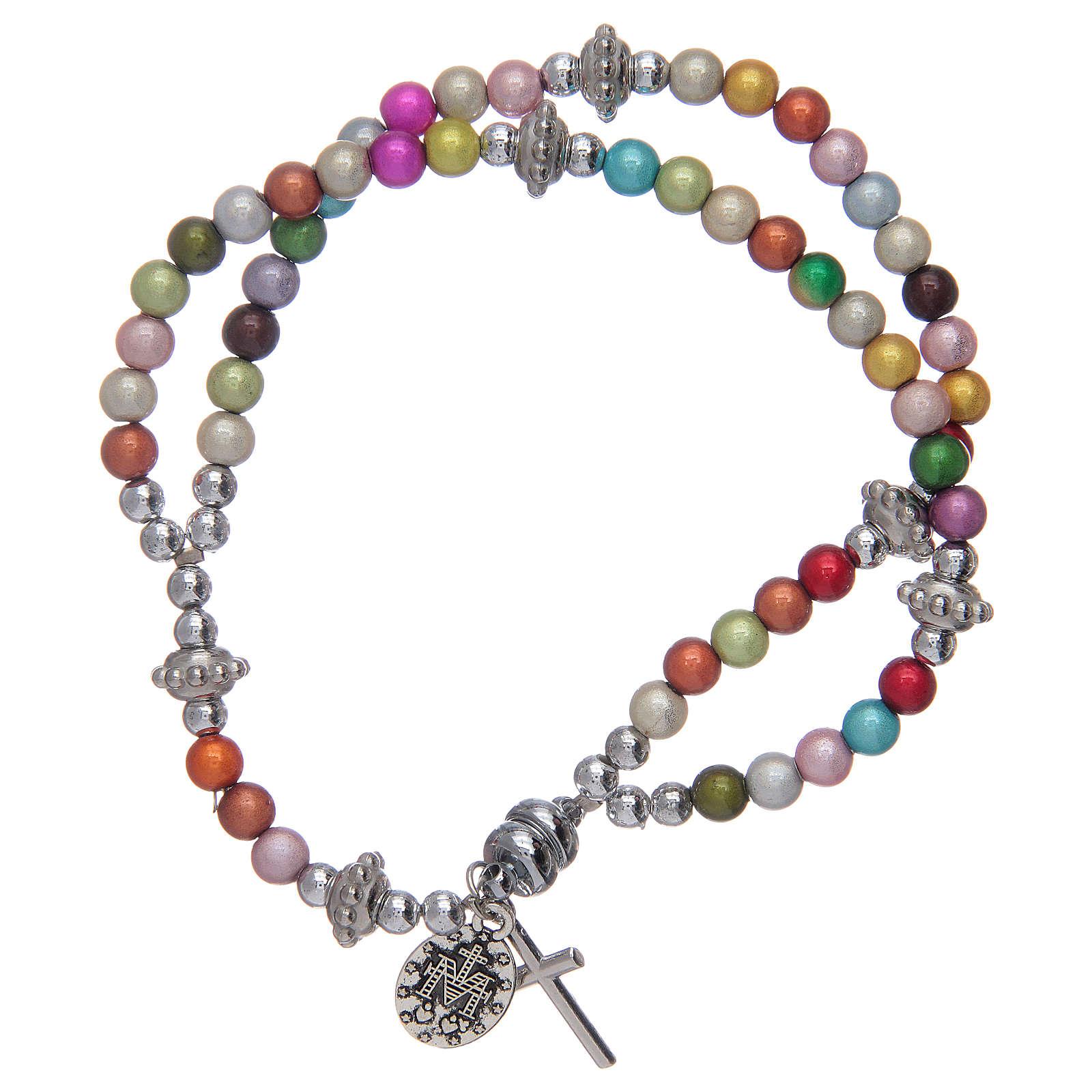 Bracciale rosario con grani in acrilico multicolore 4