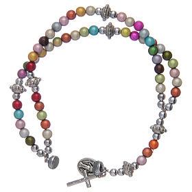 Bracciale rosario con grani in acrilico multicolore s3