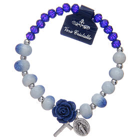 Single decade rosary bracelets: Elastic bracelet with faceted beads in ceramic and blue crystal