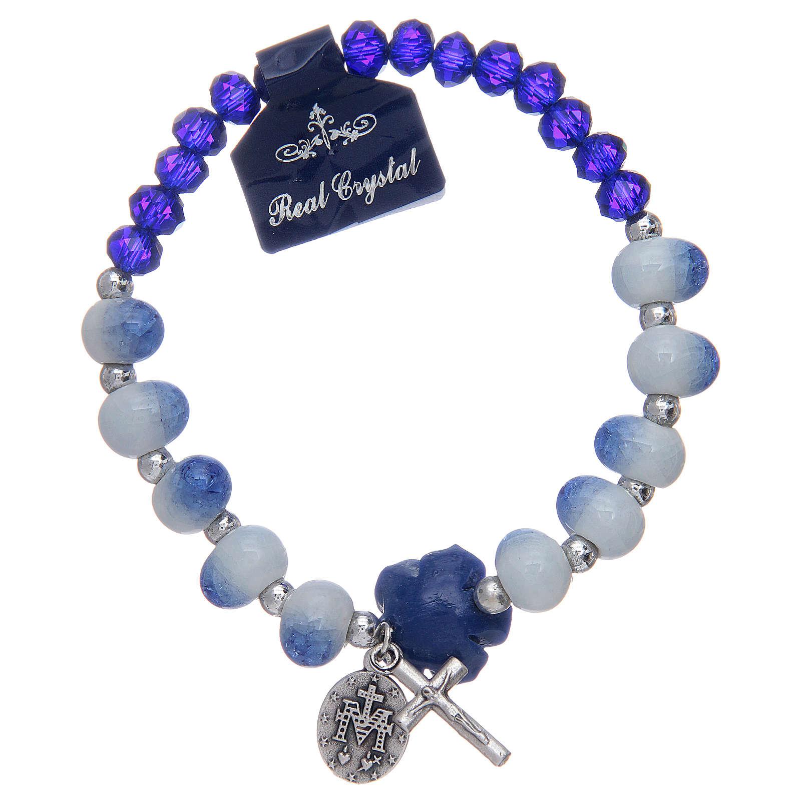 Bracciale elastico con grani sfaccettati in ceramica e cristallo blu 4