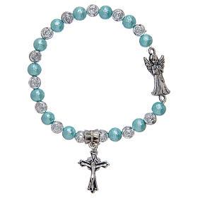 Bracelet élastique avec grains en verre ange en métal divers coloris s1