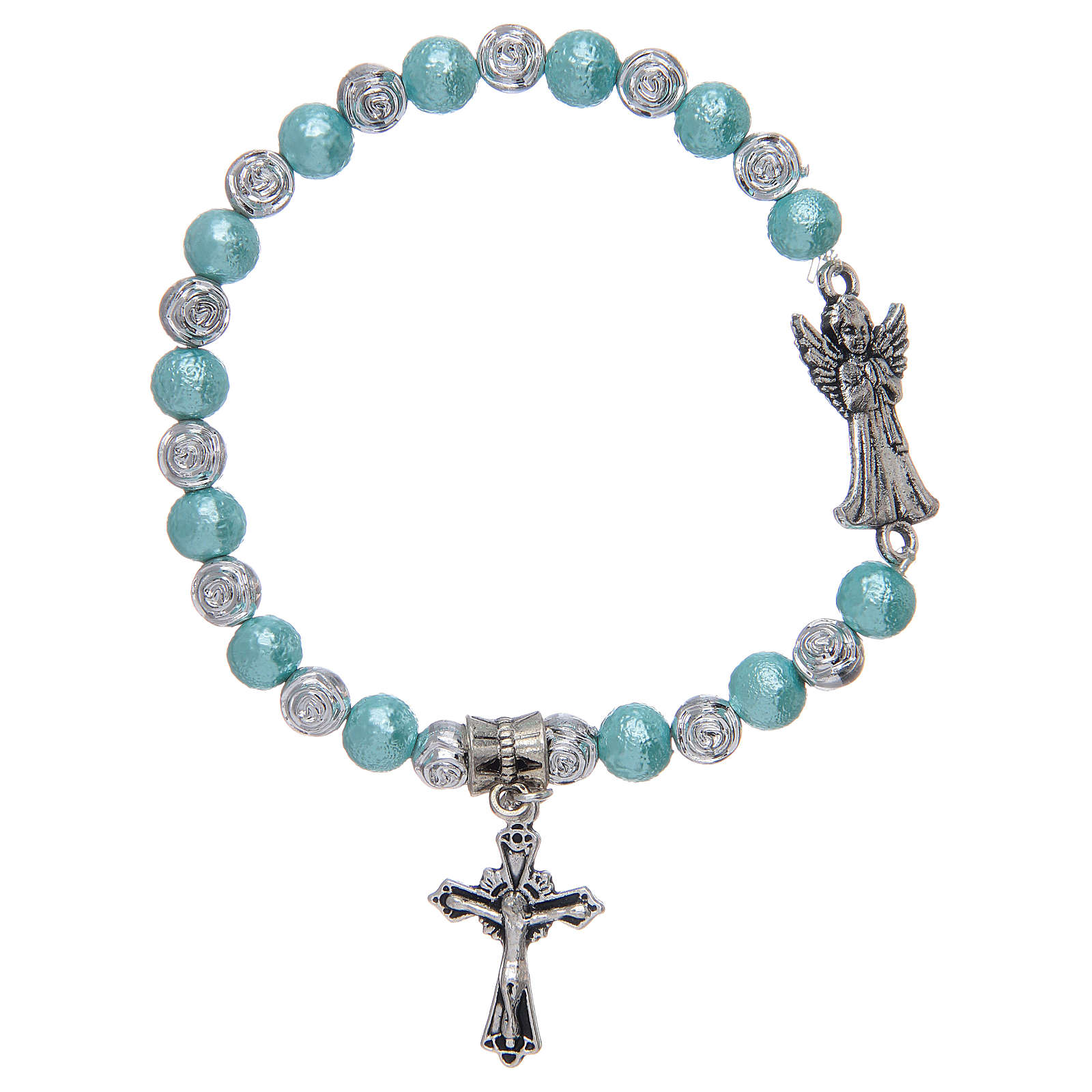 Elastic bracelet with glass grains, metal angel assorted colours 4