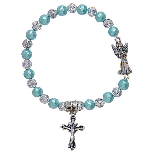 Elastic bracelet with glass grains, metal angel assorted colours 1
