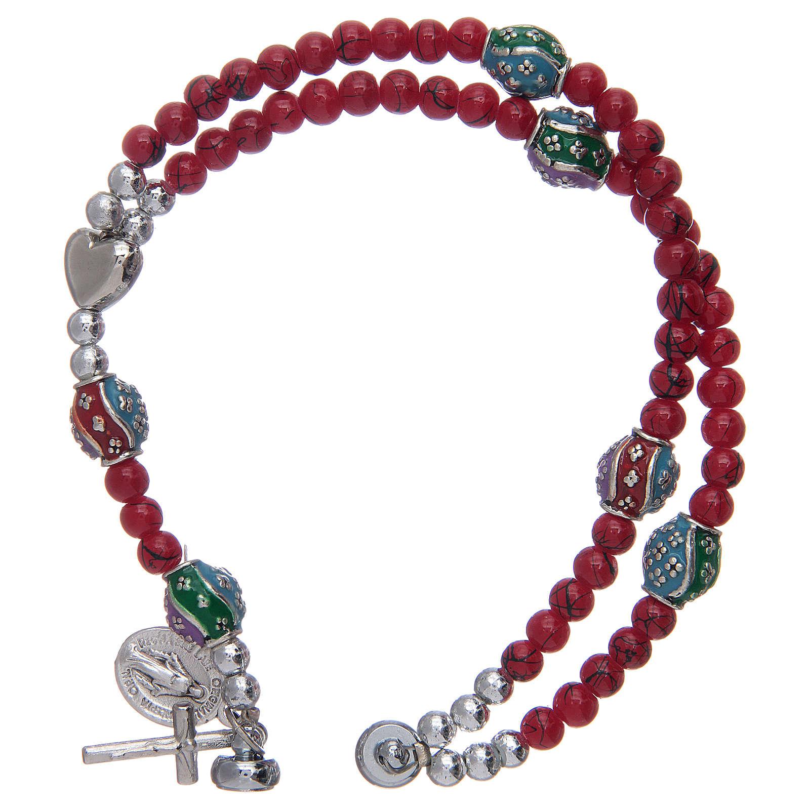 Bracelet chapelet avec grains en verre de 4 mm et en métal émaillé rouge 4