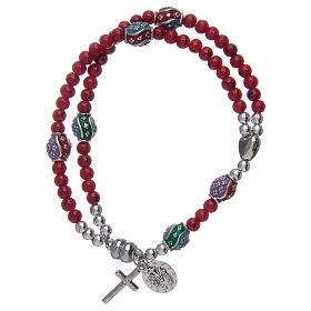 Bracelet chapelet avec grains en verre de 4 mm et en métal émaillé rouge s2
