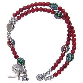 Bracelet chapelet avec grains en verre de 4 mm et en métal émaillé rouge s3