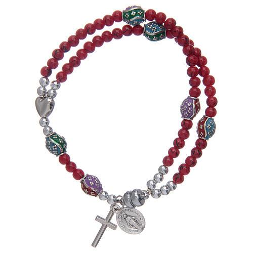 Bracelet chapelet avec grains en verre de 4 mm et en métal émaillé rouge 1