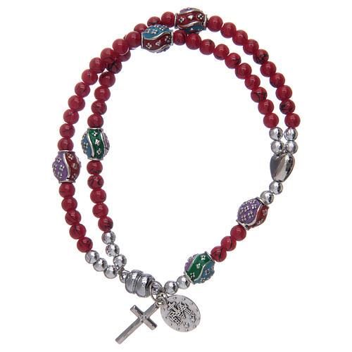 Bracelet chapelet avec grains en verre de 4 mm et en métal émaillé rouge 2