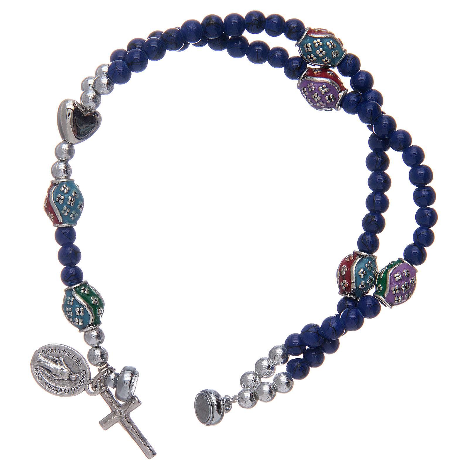 Bracelet chapelet avec grains en verre de 4 mm et en métal émaillé bleu 4