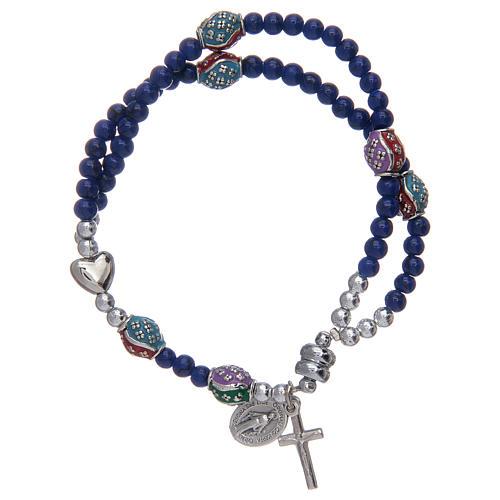Bracelet chapelet avec grains en verre de 4 mm et en métal émaillé bleu 1