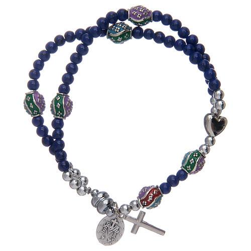 Bracelet chapelet avec grains en verre de 4 mm et en métal émaillé bleu 2