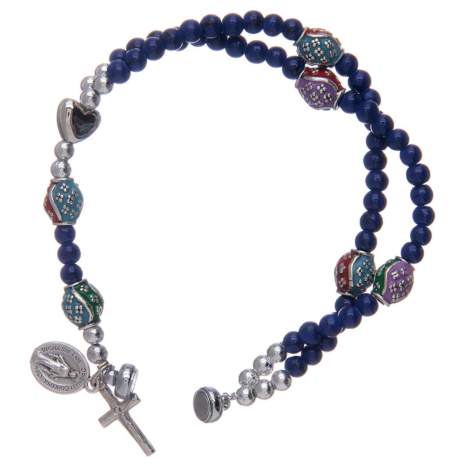 Rosary bracelet with glass grains 4 mm and blue polished metal 4