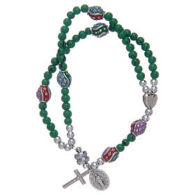 Rosary bracelet with glass grains 4 mm and green polished metal s1