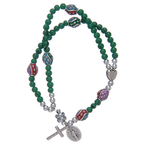 Rosary bracelet with glass grains 4 mm and green polished metal 1
