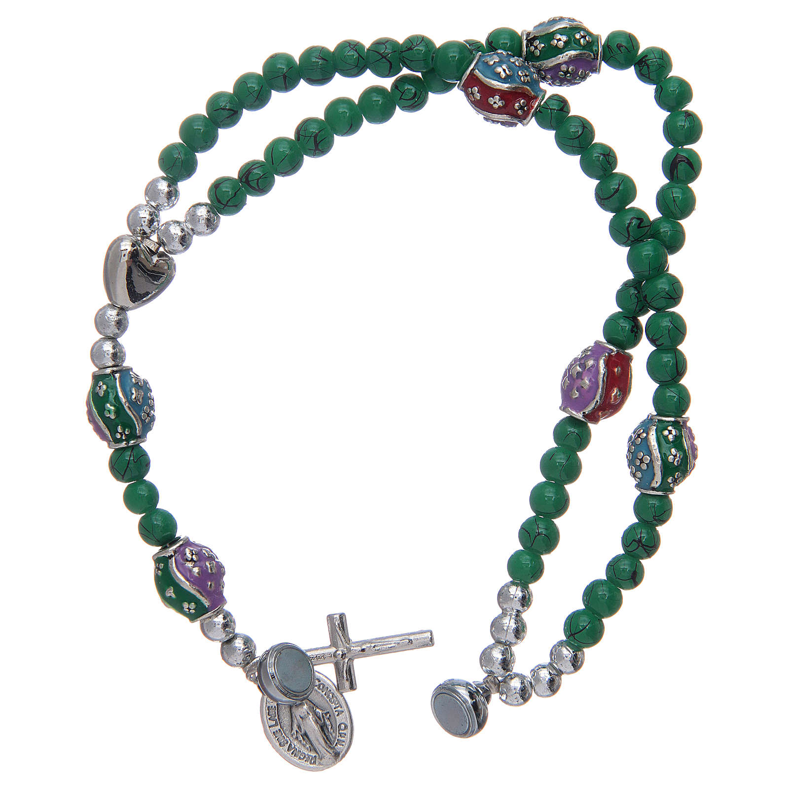 Rosary bracelet with glass grains 4 mm and green polished metal 4