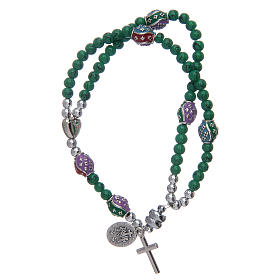 Rosary bracelet with glass grains 4 mm and green polished metal s2