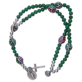 Rosary bracelet with glass grains 4 mm and green polished metal s3