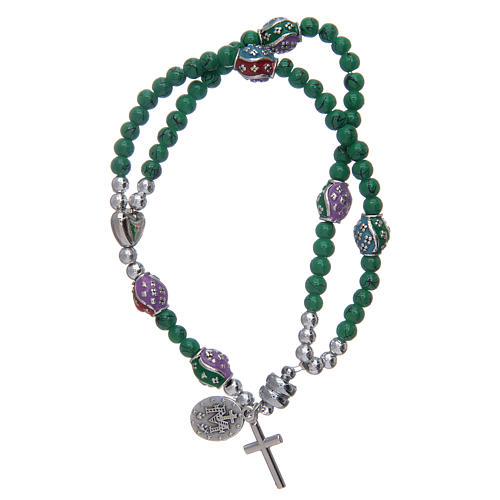 Rosary bracelet with glass grains 4 mm and green polished metal 2