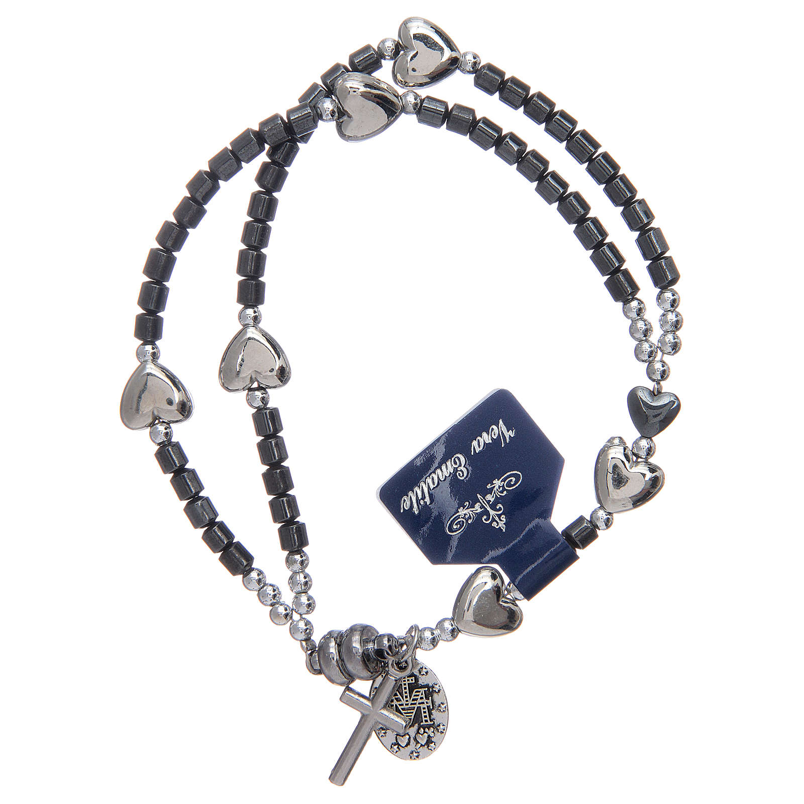 Rosary bracelet with hematite grains and magnetic closure 4