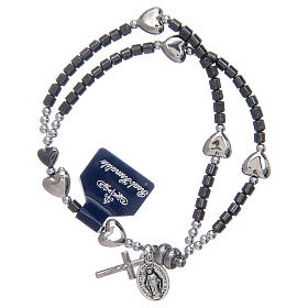 Rosary bracelet with hematite grains and magnetic closure s1