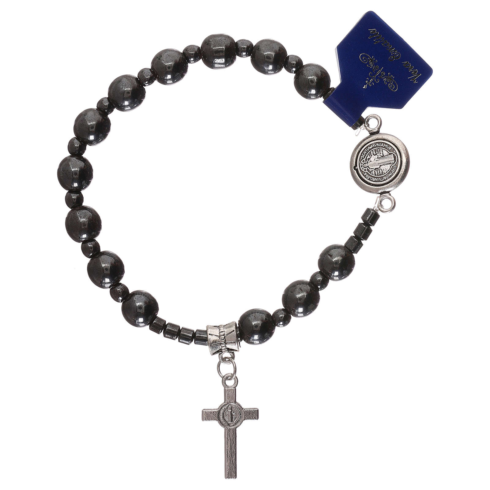 Rosary elastic bracelet with hematite grains and Saint Benedict 4