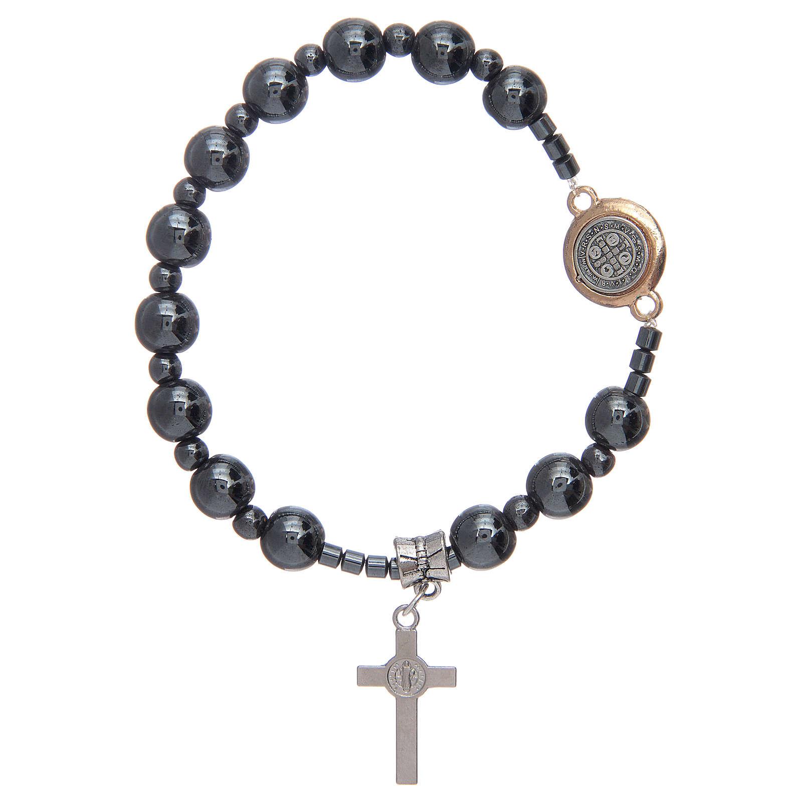 Bracciale rosario elastico con grani in ematite e S. Benedetto 4