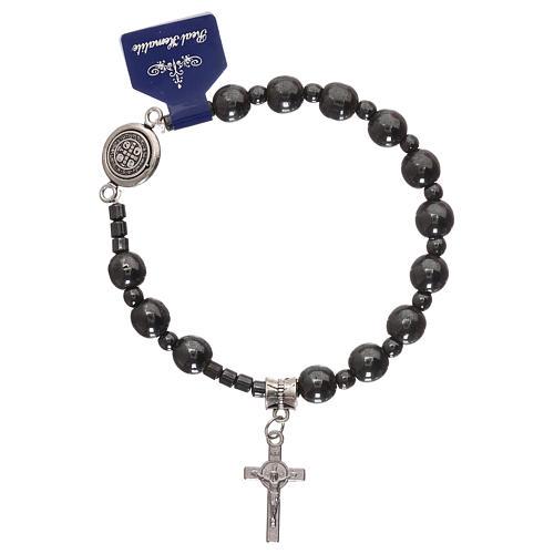 Rosary elastic bracelet with hematite grains and Saint Benedict 1