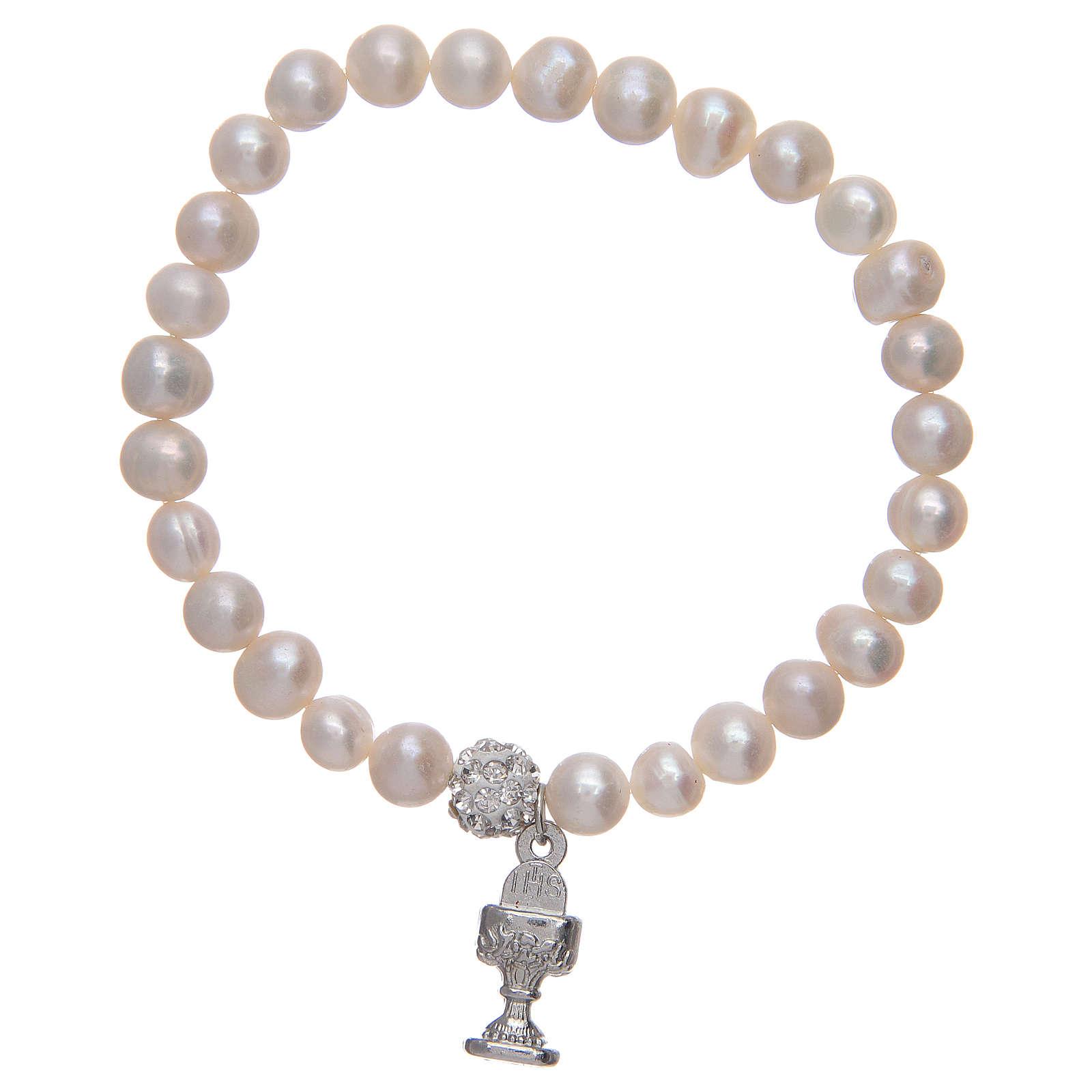 Bracciale rosario con grani in perla e ciondolo a calice 4