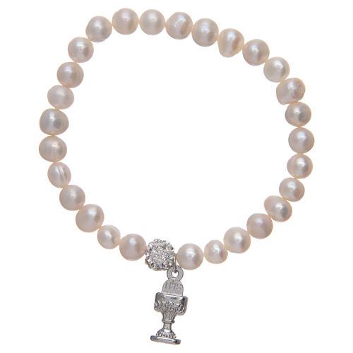 Bracciale rosario con grani in perla e ciondolo a calice 2