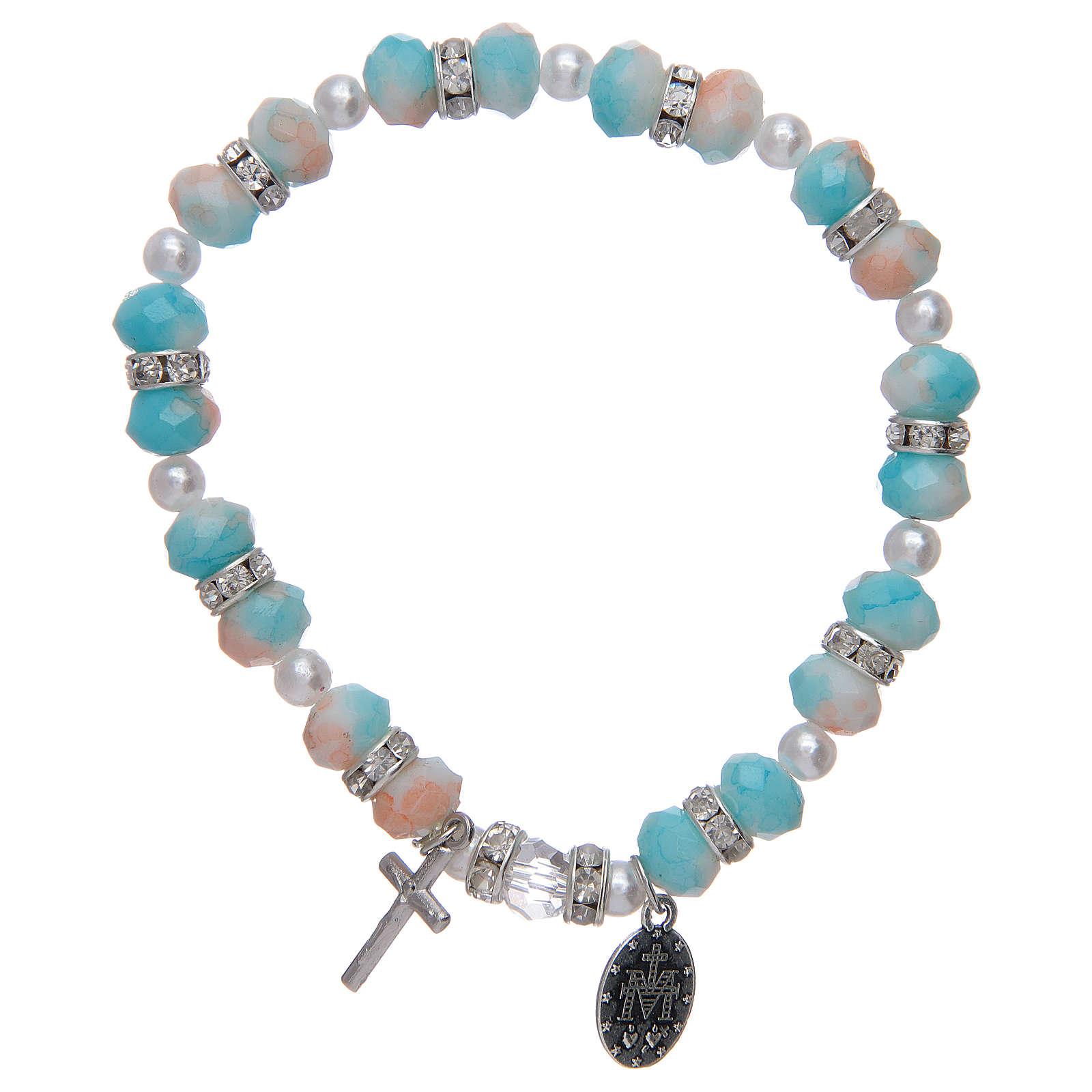 Bracciale rosario con grani in vetro 6x8 mm 4
