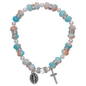 Bracciale rosario con grani in vetro 6x8 mm s1
