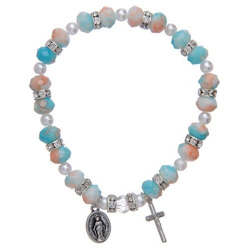 Bracciale rosario con grani in vetro 6x8 mm 1