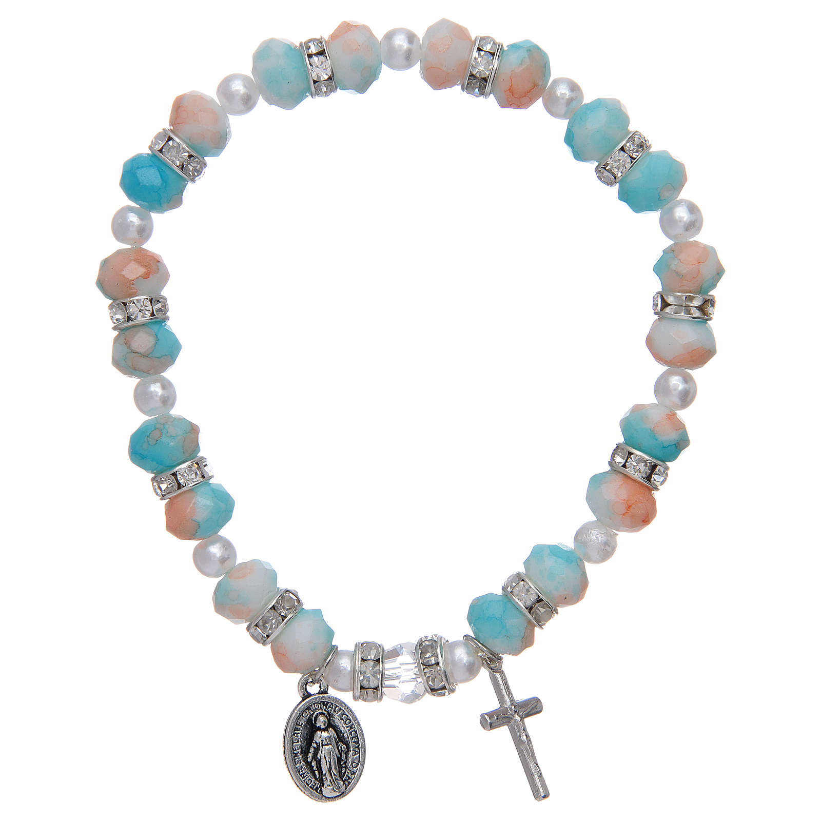 Rosary bracelet with glass grains 6x8 mm 4