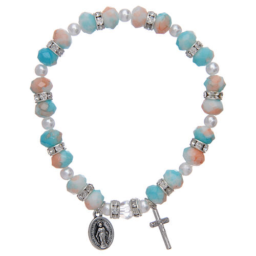 Rosary bracelet with glass grains 6x8 mm 1