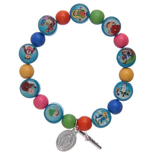 Pulsera rosario con granos de acrílico multicolor para niños 1