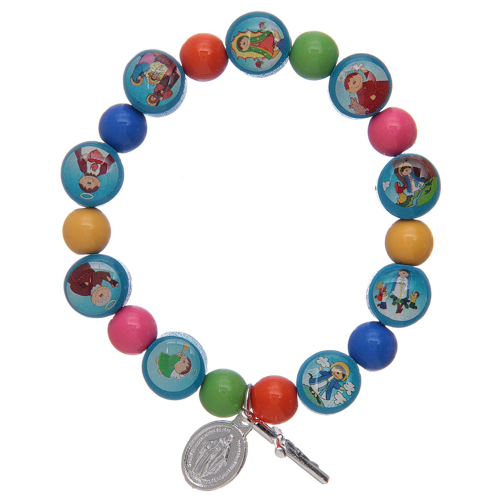 Bracciale rosario con grani in acrilico multicolore per bambini 4