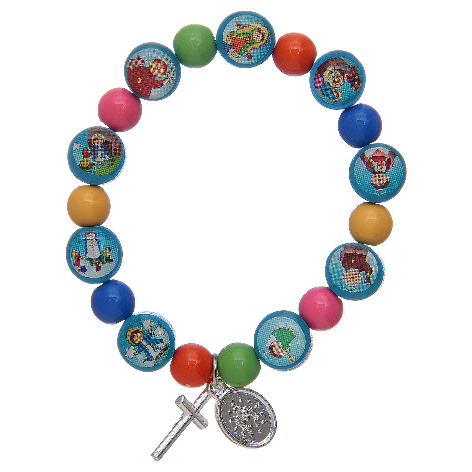 Rosary bracelet with multicoloured acrylic grains for children 4