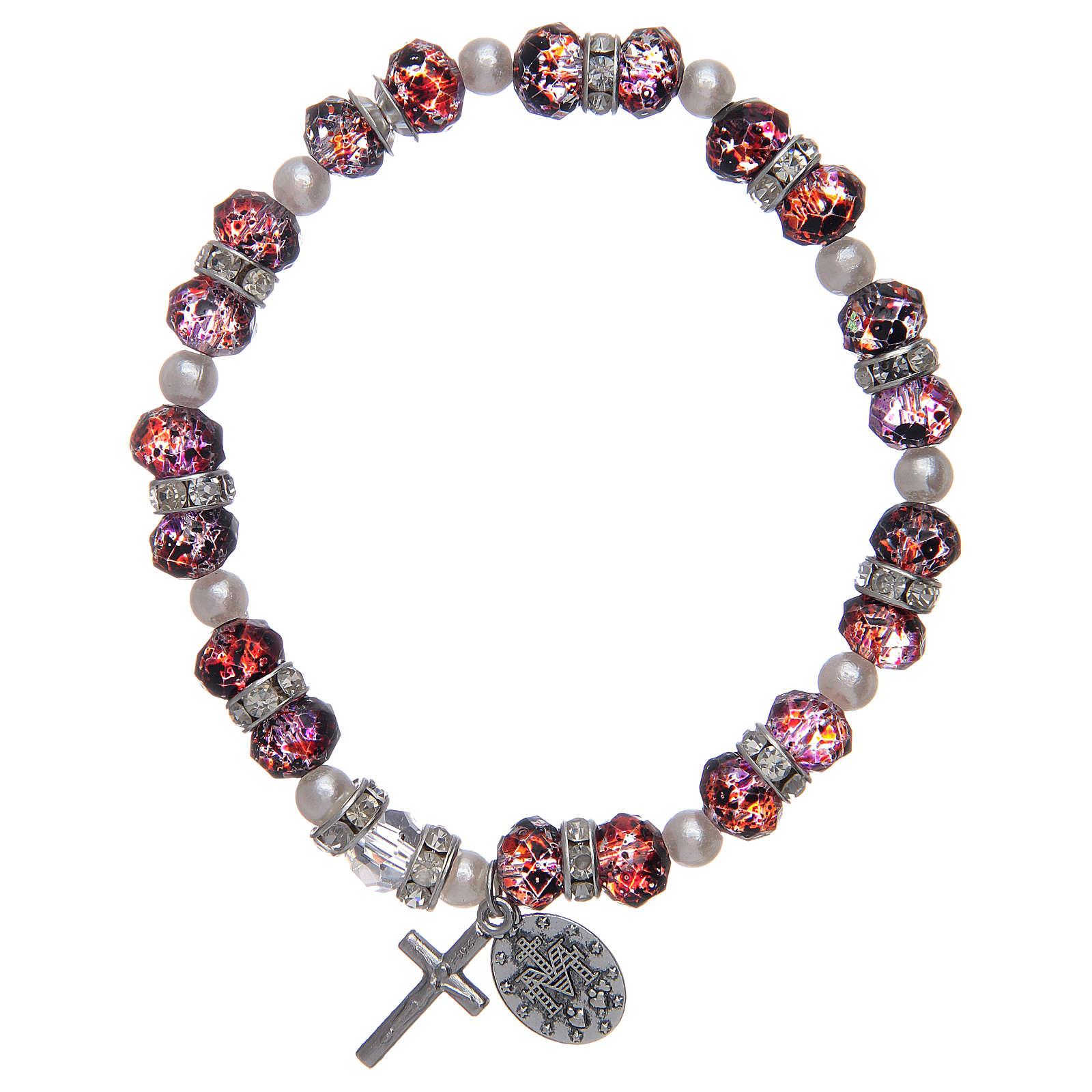 Bracciale rosario in vetro sfaccettato da 6x8 mm rosso/blu 4