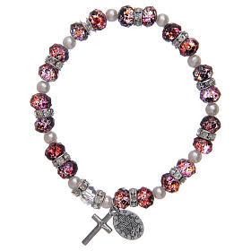 Bracciale rosario in vetro sfaccettato da 6x8 mm rosso/blu s2