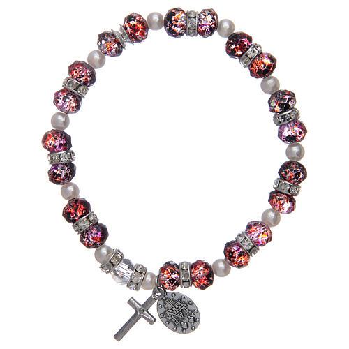 Bracciale rosario in vetro sfaccettato da 6x8 mm rosso/blu 2