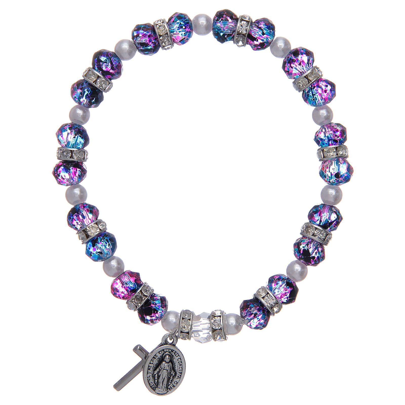 Bracciale rosario in vetro sfaccettato viola/nero 4