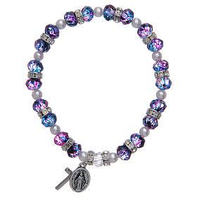 Bracciale rosario in vetro sfaccettato viola/nero s1