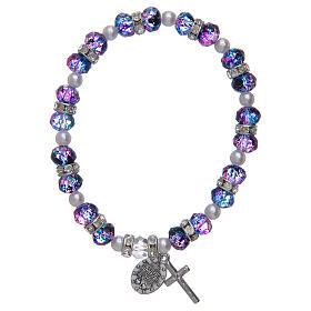 Bracciale rosario in vetro sfaccettato viola/nero s2