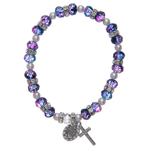 Bracciale rosario in vetro sfaccettato viola/nero 2
