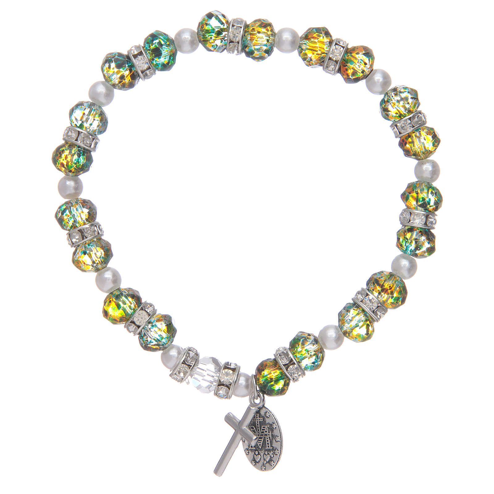 Bracciale rosario in vetro sfaccettato due tonalità 4