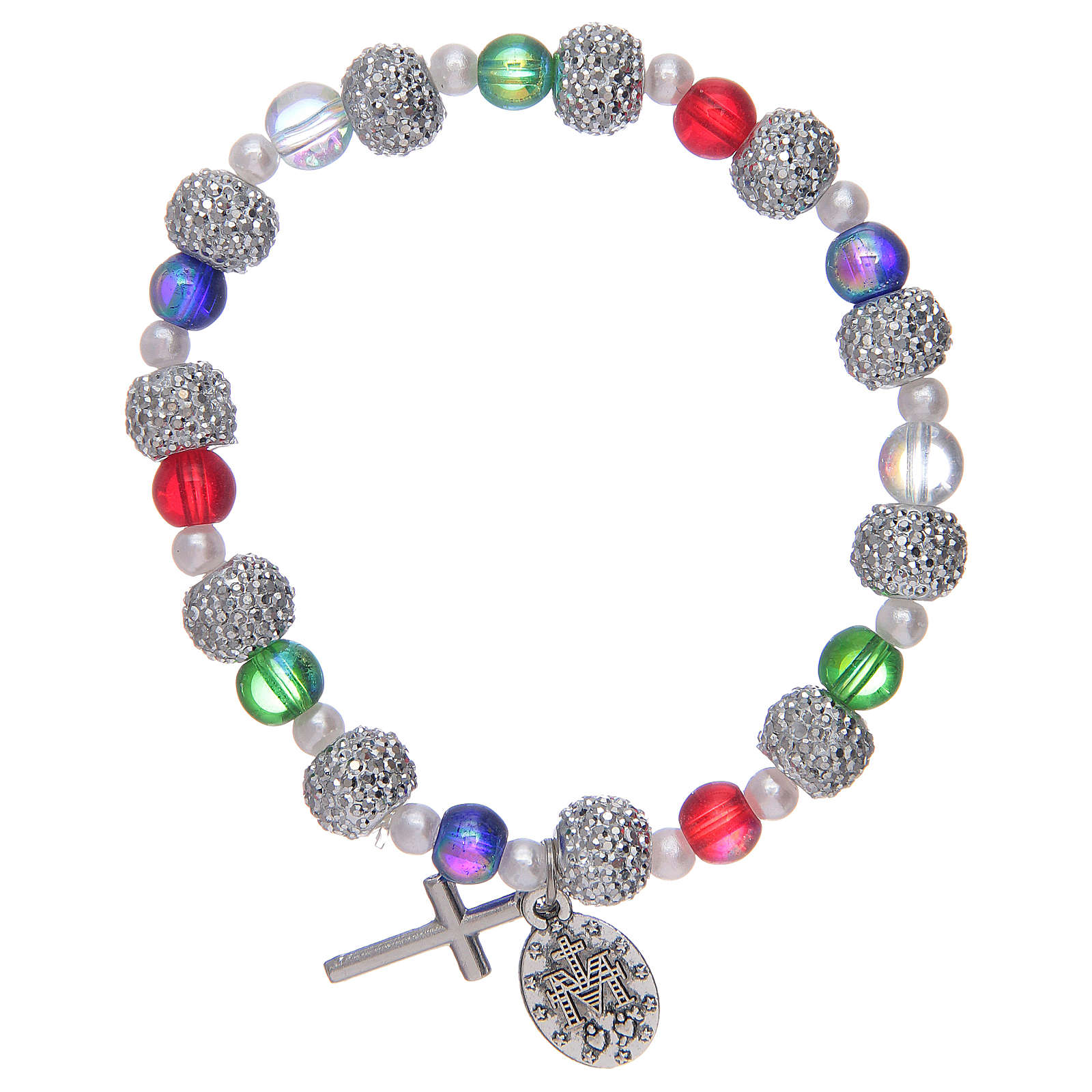 Elastic bracelet with multicoloured glass grains and strass 4
