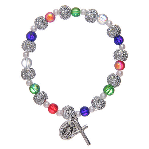 Elastic bracelet with multicoloured glass grains and strass 1