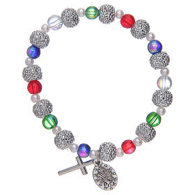 Elastic bracelet with multicoloured glass grains and strass s2
