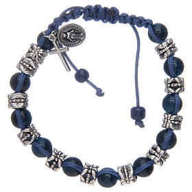 Elastic bracelet with glass grains on blue cord s1