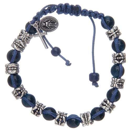 Elastic bracelet with glass grains on blue cord 1
